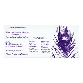 Purple Peacock Wedding Program Card