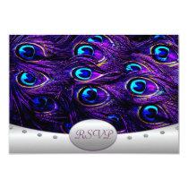 Purple Peacock Wedding RSVP Wedding Cards