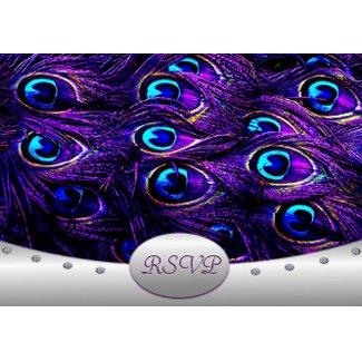 Purple Peacock Wedding RSVP Wedding Cards invitation