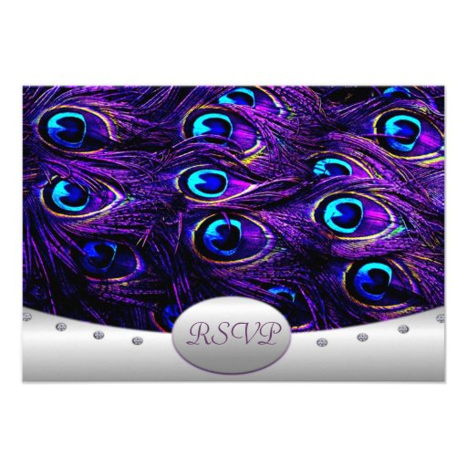 Purple Peacock Wedding RSVP Wedding Cards Personalized Announcements