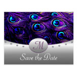Purple Peacock Wedding Save the Date Cards Postcard