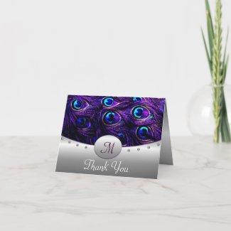 Purple Peacock Wedding Thank You Cards card