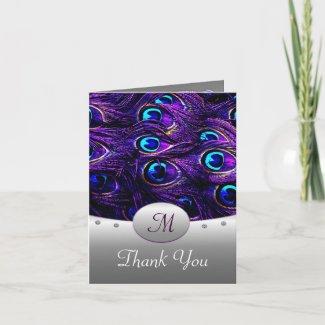 Purple Peacock Wedding Thank You Cards - Tall card