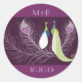 Purple Peacocks Pair Wedding Anniversary Custom Classic Round Sticker