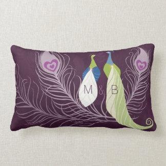 Purple Peacocks Pair Wedding Anniversary Custom Throw Pillow