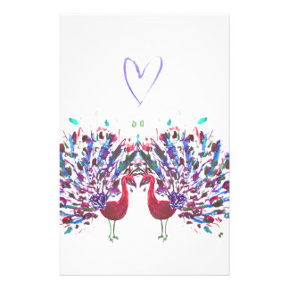Purple peacocks with love heart watercolour stationery