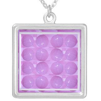 Purple Pearl Bubbles -  Based on Lynx Stone Balls Square Pendant Necklace