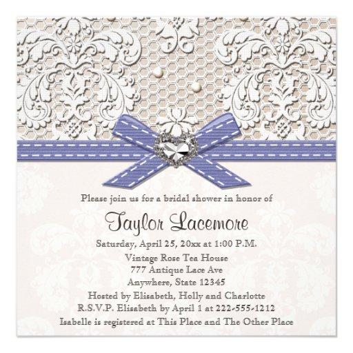 purple vintage lace bridal shower invitations