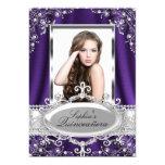 Purple Pearl Silk Vintage Glamour Quinceanera 5x7 Paper Invitation Card