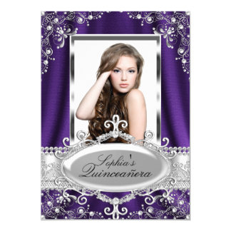 Purple Pearl Silk Vintage Glamour Quinceanera Card