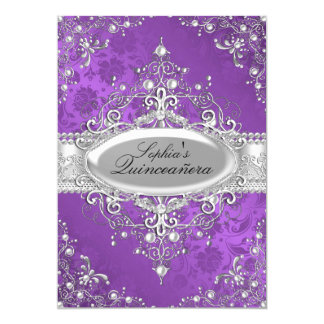 Purple Pearl Vintage Glamour Quinceanera 5x7 Paper Invitation Card