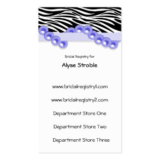 Purple Pearls And Ribbon Gift Registry Cards Business Card Template