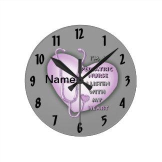 Purple Pediatric Nurse Round Clock