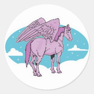 purple pegasus round sticker