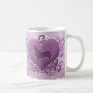 Purple Pembroke Welsh Corgi Valentine Coffee Mugs