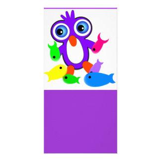Purple Penguin Designed Book Mark Card