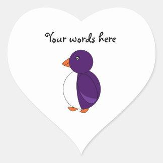 Purple penguin heart sticker