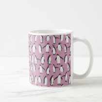 Purple Penguin Pattern Coffee Mug