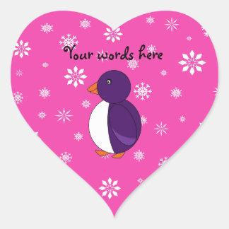Purple penguin pink snowflakes pattern heart sticker