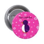 Purple penguin pink snowflakes pattern pins