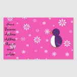 Purple penguin pink snowflakes pattern rectangular sticker