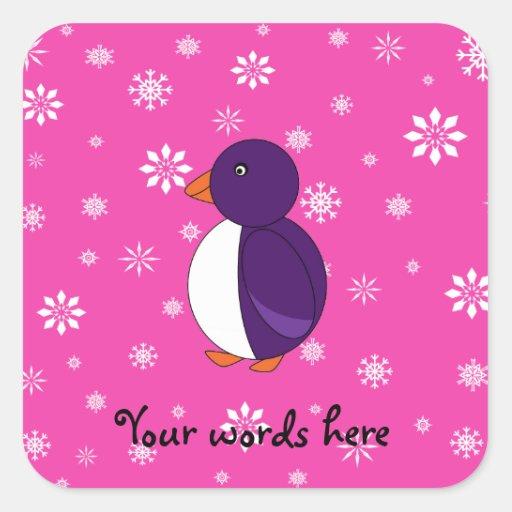 Purple penguin pink snowflakes pattern square sticker