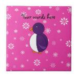 Purple penguin pink snowflakes pattern tile