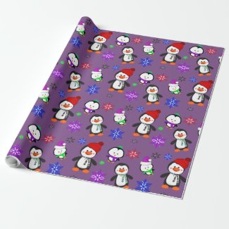 Purple Penguins and Snowflakes Cute Christmas
