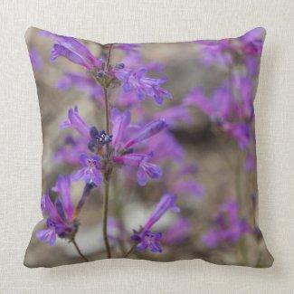 Purple Penstemon Flowers Pillow