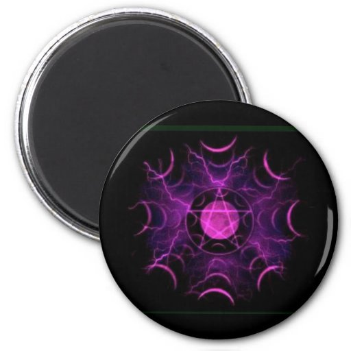 Purple Pentacle 2 Inch Round Magnet