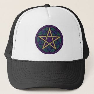 Purple Pentacle Triquetra Trucker Hat