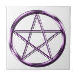 Purple Pentagram on white Small Square Tile
