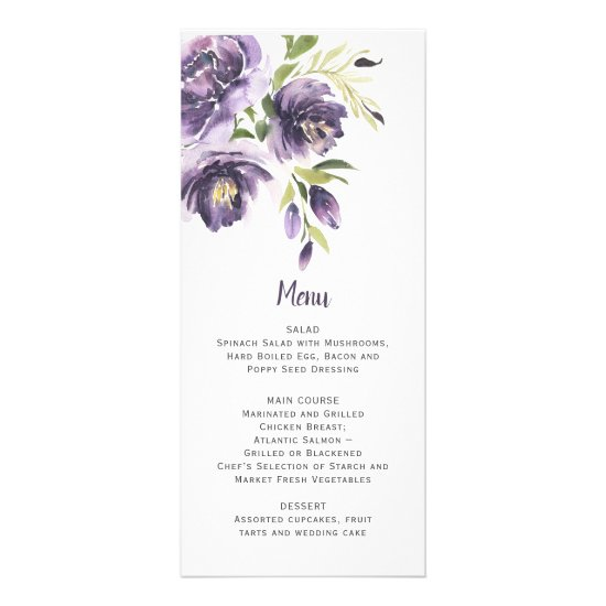 Purple Peonies Greenery Wedding | Menu