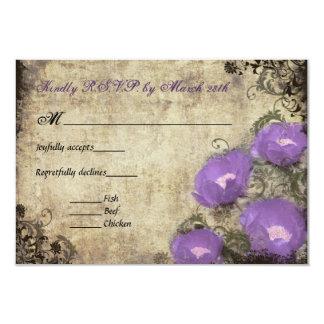 Purple Peonies Vintage Wedding Invitation RSVP