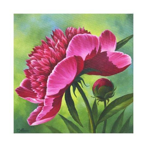 Purple Peony - canvas 12x12