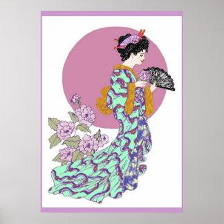 Purple Peony Fan Poster