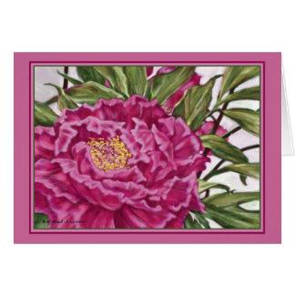 Purple Peony Flowers Garden Painting Card