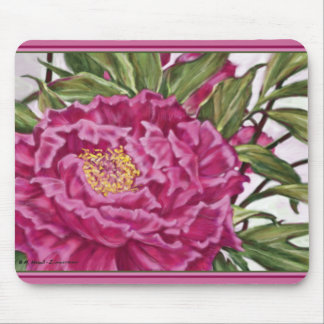 Purple Peony Flowers Garden Painting Mouse Pad