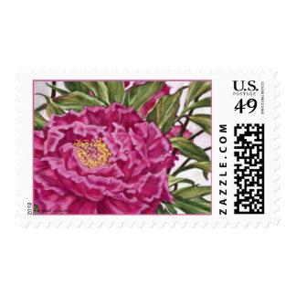 Purple Peony Flowers Garden Painting Postage