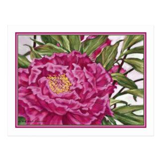 Purple Peony Flowers Garden Painting Postcard