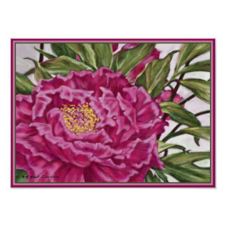Purple Peony Flowers Garden Painting Poster