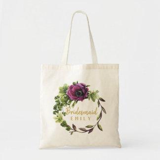 Purple Peony Wreath Bridesmaid Name ID456 Tote Bag