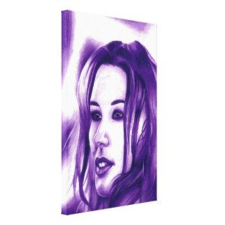 Purple People Woman Portrait Original Art Canvas Print