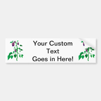 Purple peppers on green plant graphic bumper sticker