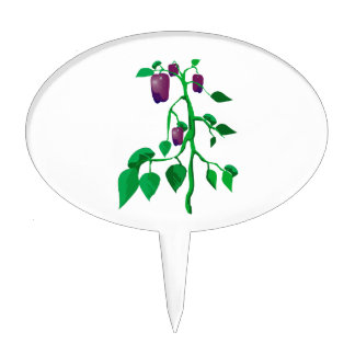 Purple peppers on green plant graphic cake topper