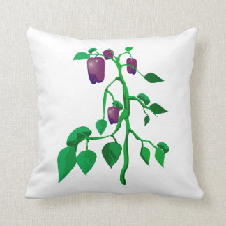 Purple peppers on green plant graphic throw pillow