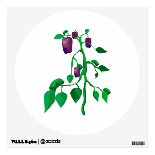 Purple peppers on green plant graphic wall stickers