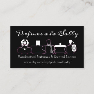 Purple perfume bottles scent lotions business card