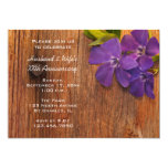 Purple Periwinkle and Barn Wood Anniversary Party 5x7 Paper Invitation Card