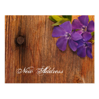 Purple Periwinkle and Barn Wood New Address Postcards